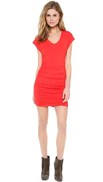 Splendid Ruched Cap Sleeve Dress