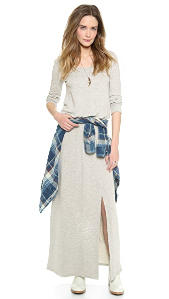 Splendid Sweatshirt Maxi Dress with Slit