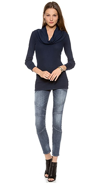 Splendid Thermal Cowl Neck Top