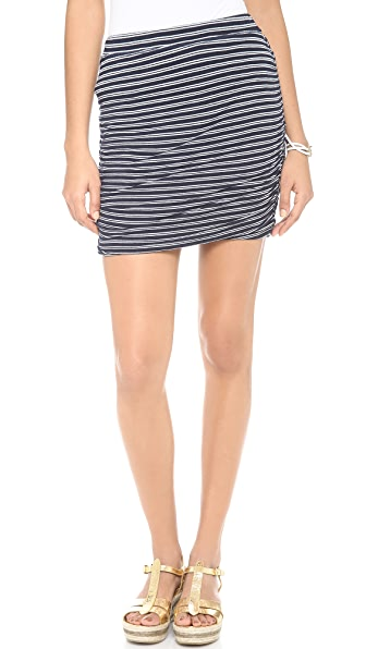 Splendid Ruched Stripe Miniskirt