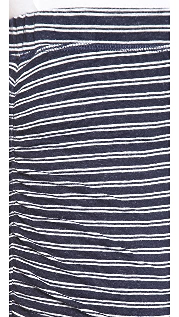 Splendid Ruched Stripe Miniskirt