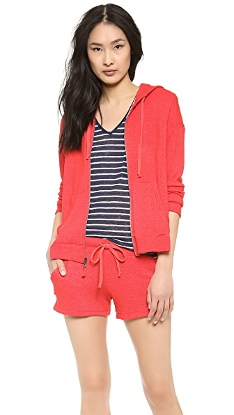 Splendid Soft Melange Zip Up Sweatshirt