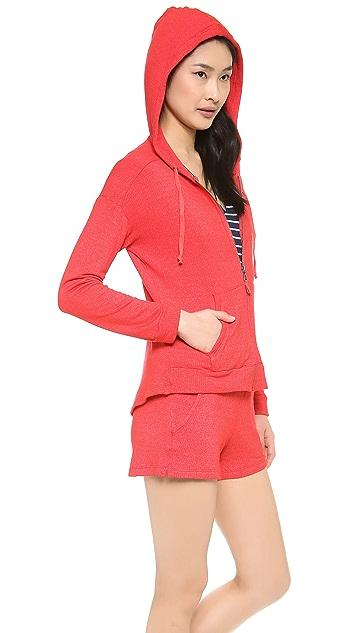 Splendid Soft Melange Zip Up Sweatshirt