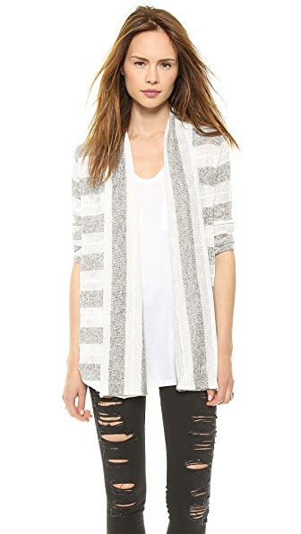 Splendid Rugby Pointelle Loose Knit Cardigan