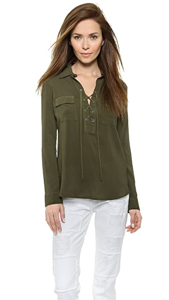 Splendid Lace Up Blouse | SHOPBOP