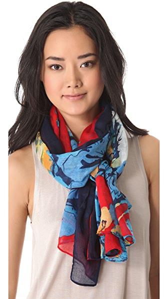 Spun Scarves by Subtle Luxury Border Flower Scarf