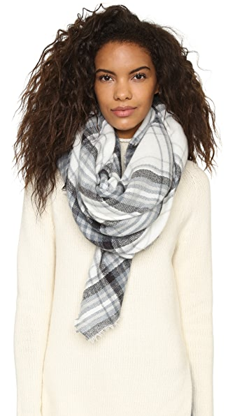 Spun Scarves By Subtle Luxury Forever Plaid Blanket Wrap Scarf - Grey