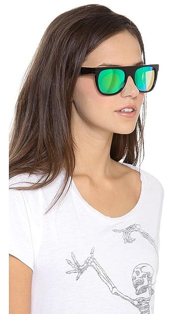 Super Sunglasses Mirrored Cove Flat Top Sunglasses