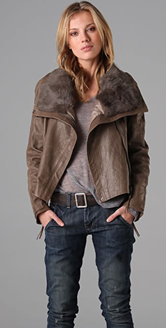 state & lake Fur Collar Leather Jacket | SHOPBOP