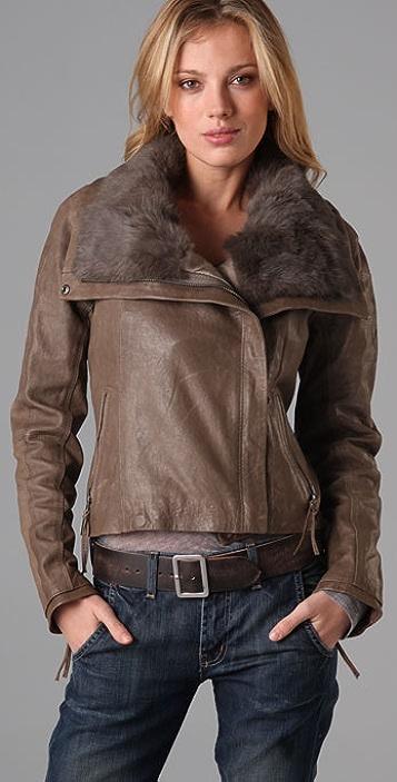state & lake Fur Collar Leather Jacket