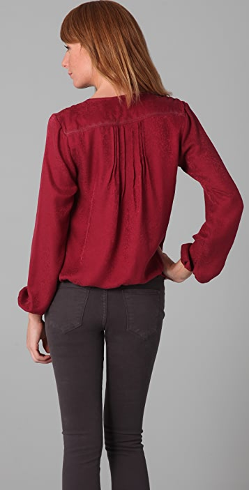 state & lake Pintucked Embroidered Blouse