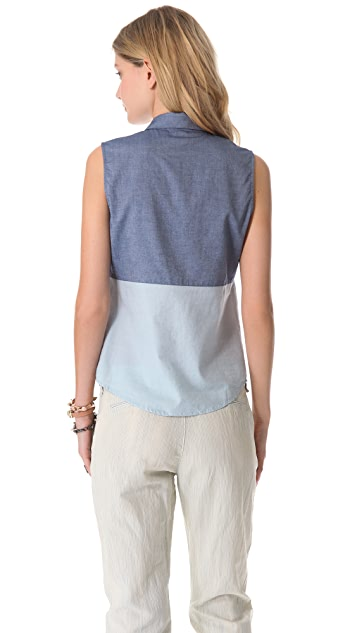 state & lake Sleeveless Chambray Shirt