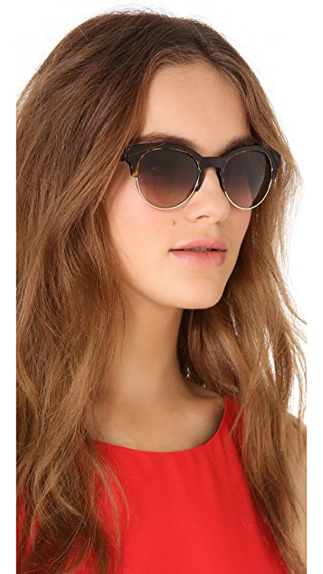 Stella McCartney Oversized Round Sunglasses with Rimless Bottom