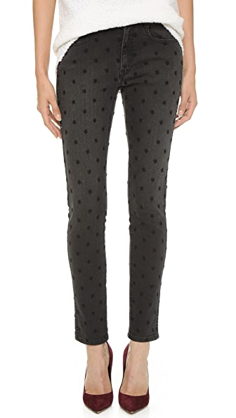 Stella McCartney Star Embroidery Skinny BF Jeans In Pale Vintage Black