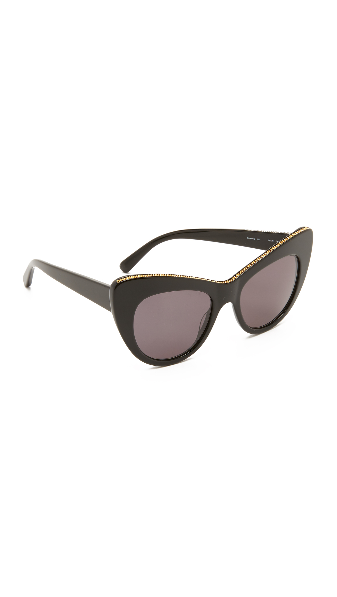 A curb chain inlay shines from the top of these glossy Stella McCartney sunglasses. Pouch included. Cateye frame. Non polarized lenses. Made in Italy. Measurements Width: 6in / 15cm Height: 2.25in / 6cm Lens Width: 53mm A manufacturer's
