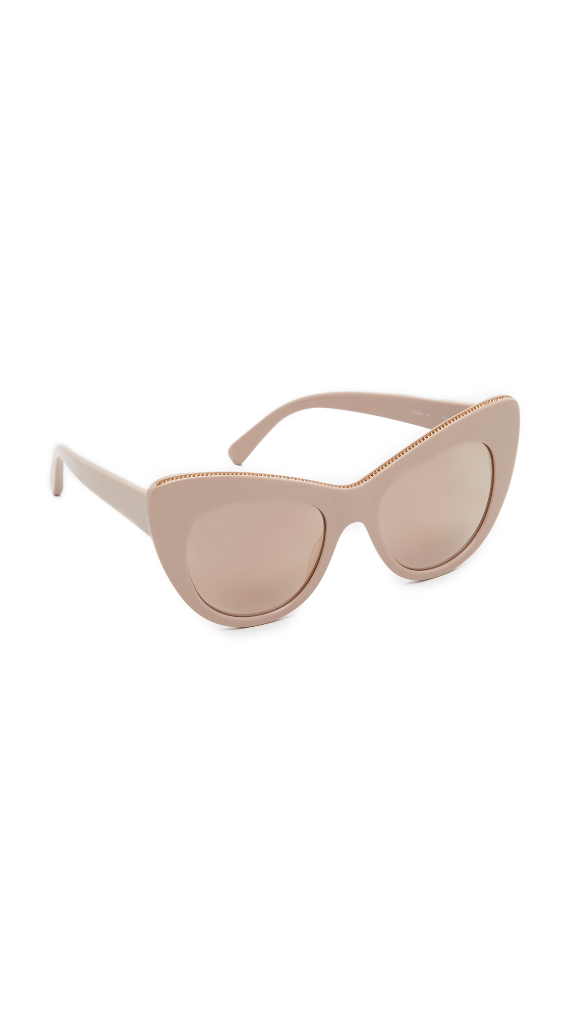 Delicate chain trim edges the top rim of these bold, cat eye Stella McCartney sunglasses. Mirrored lenses. Does not include case or cleaning cloth. Cateye frame. Polarized lenses. Made in Italy. Measurements Width: 6in / 15cm Height: 2.25
