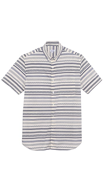 Steven Alan Pattern Stripe Short Sleeve Shirt
