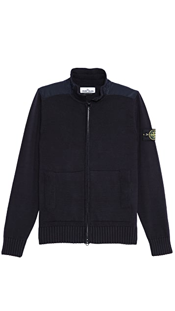 Stone Island Soft Zip Sweater with Shoulder Detail