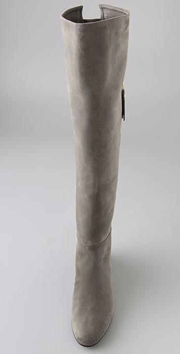 Stuart Weitzman Elf Suede Over the Knee Wedge Boots