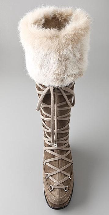 Stuart Weitzman Troll Suede Moon Boots with Fur
