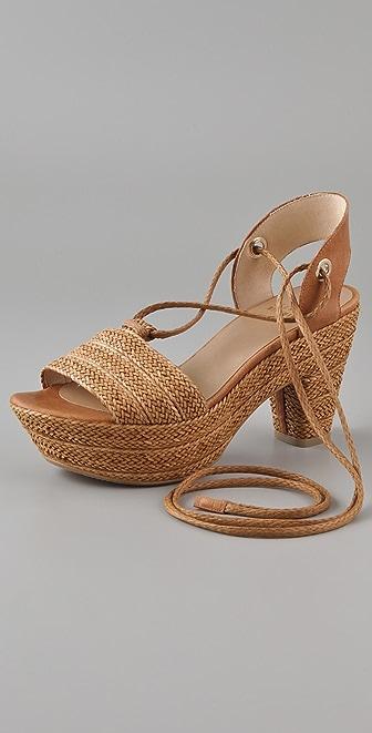 Stuart Weitzman Katiedid Ankle Tie Platform Sandals