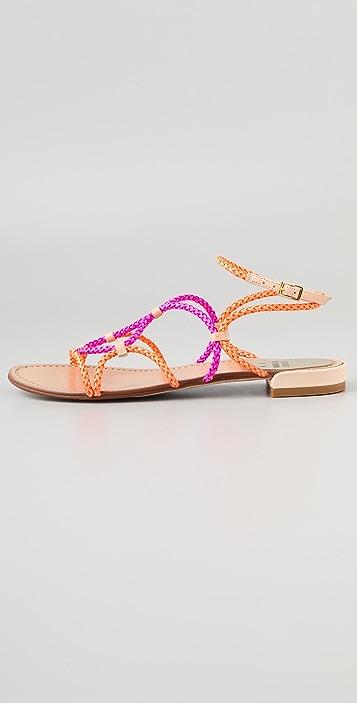Stuart Weitzman Cordy Colorblock Flat Sandals