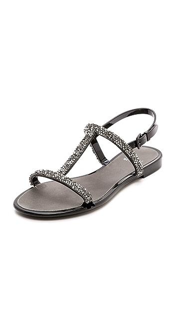 Stuart Weitzman Teezer Glitter T Strap Jelly Sandals