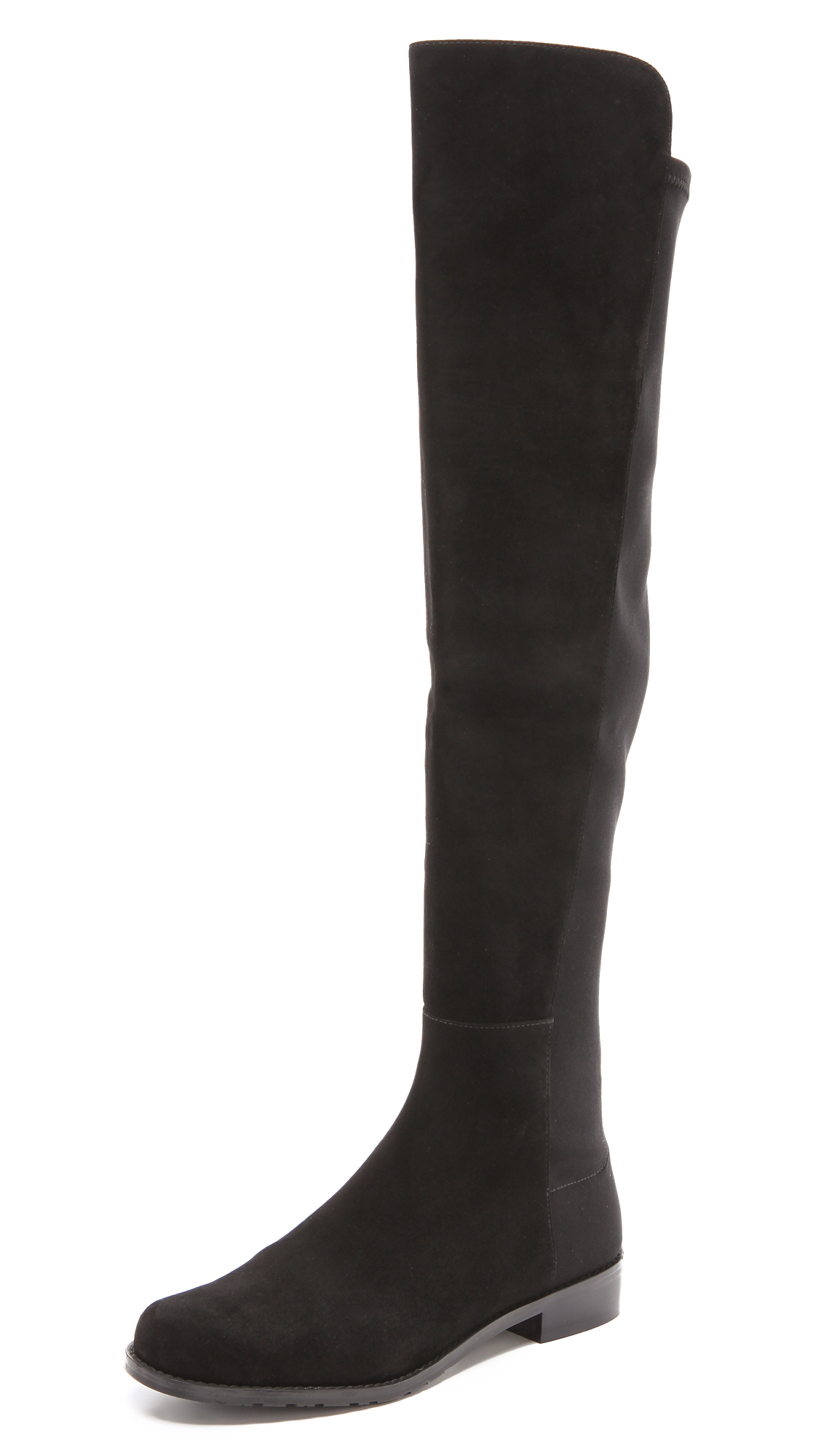A tonal panel of soft elastic contours the silhouette of these suede Stuart Weitzman over the knee boots. Rubber sole. Leather: Sheepskin. Imported, China. This item cannot be gift boxed. Measurements Heel: 1in / 25.5mm Shaft: 21in / 53.5