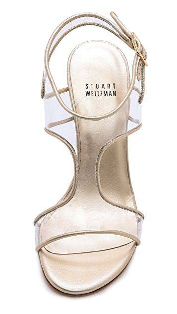 Stuart Weitzman Seeall Vinyl Open Toe Sandals