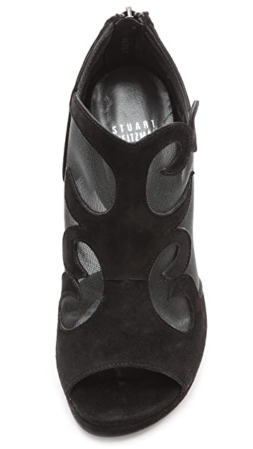 Stuart Weitzman Showbiz Mesh Open Toe Booties