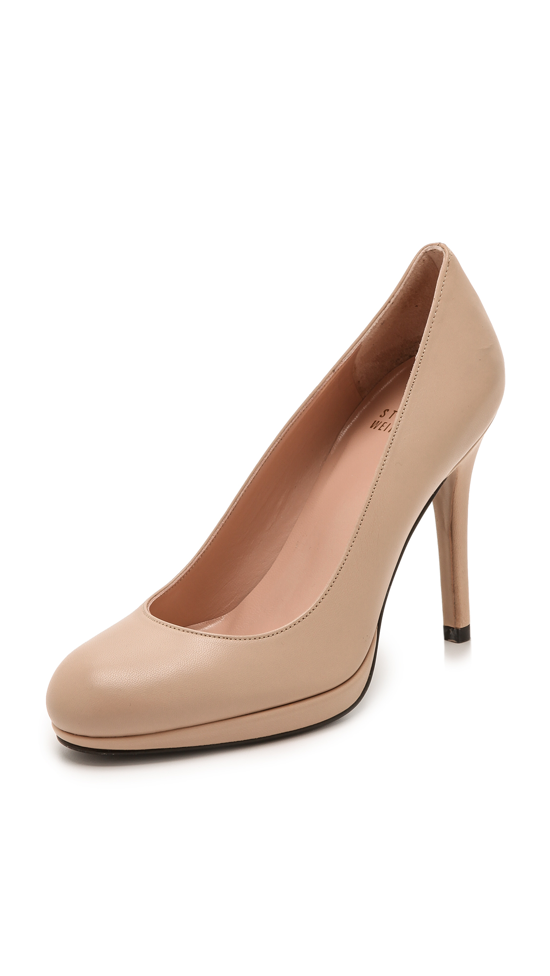 Stuart Weitzman Swoon 90mm Leather Pumps - Adobe