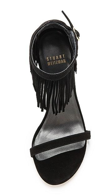 Stuart Weitzman Lovefringe Suede Sandals