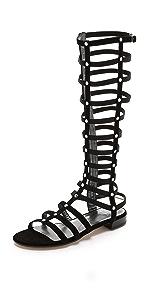 Gladiator Tall Suede Sandals                Stuart Weitzman