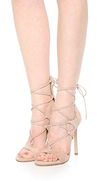 Stuart Weitzman Leg Wrap Suede Sandals