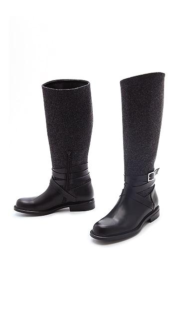 Studio Pollini Felt & Leather Moto Boots