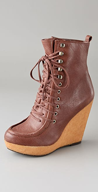 Steven Narri Lace Up Wedge Booties