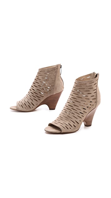 Steven Cammii Perforated Open Toe Booties