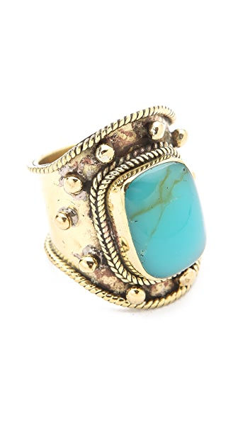SunaharA Malibu Medium Stone Turquoise Wrap Ring
