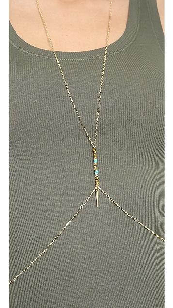SunaharA Malibu Turquoise Spike Body Chain
