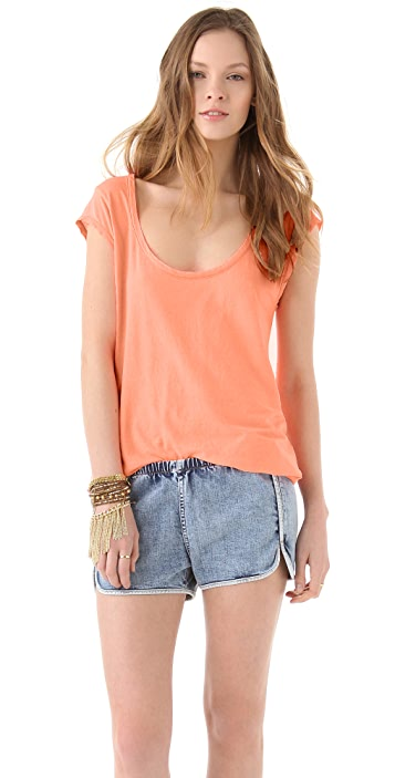 SUNDRY Cap Sleeve Scoop Tee