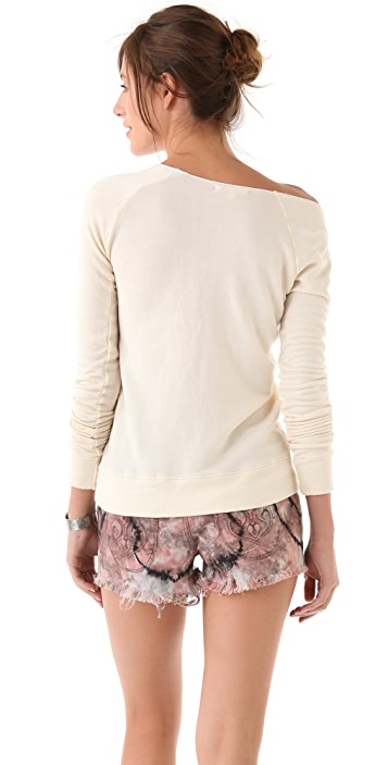 SUNDRY Pocket Off Shoulder Sweatshirt