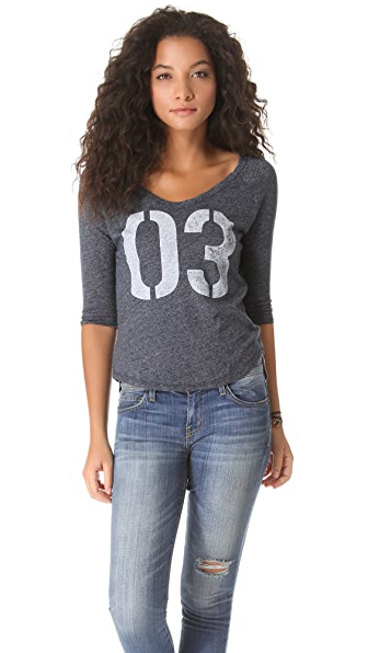 SUNDRY 3/4 Sleeve Raglan Top
