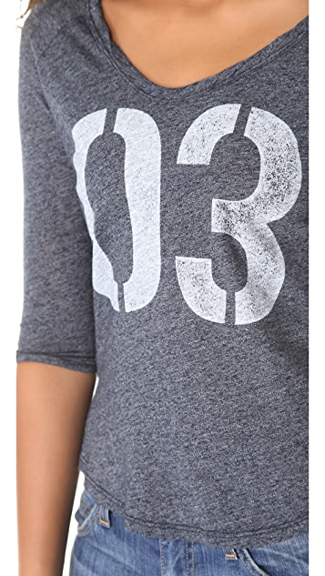 SUNDRY 3/4 Sleeve Raglan Top