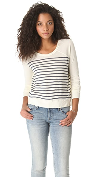 SUNDRY Striped Cropped Pullover