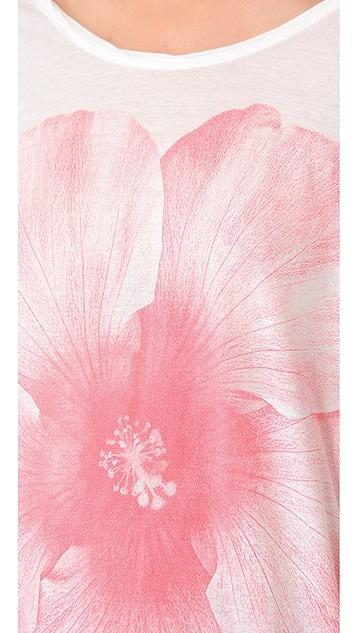 SUNDRY Flower Print 3/4 Sleeve Top