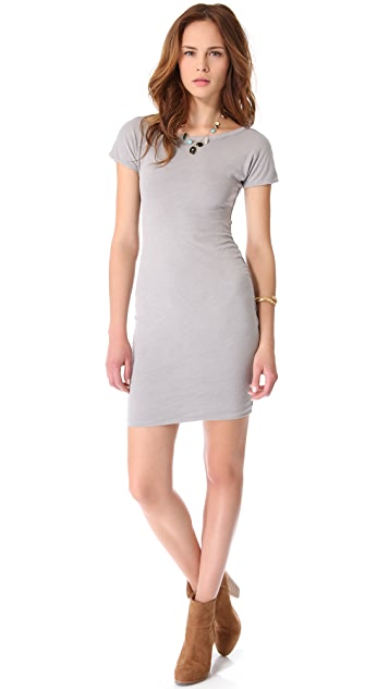 SUNDRY Boat Neck Ruched Dress