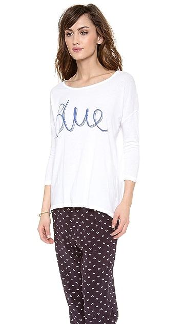SUNDRY Blue 3/4 Sleeve Top