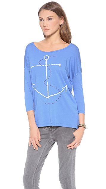 SUNDRY Anchor 3/4 Sleeve Top