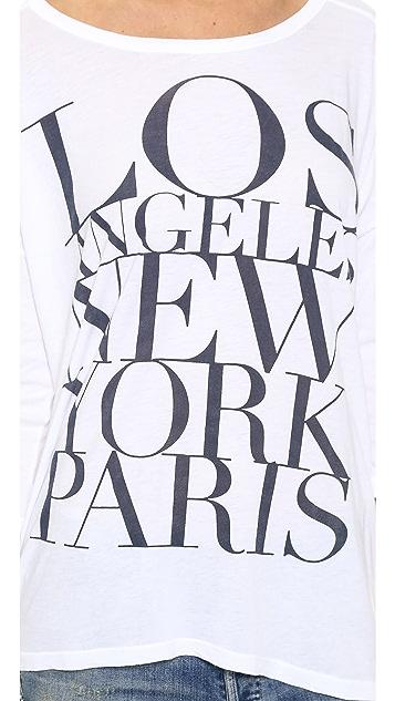 SUNDRY Los Angeles New York Paris 3/4 Sleeve Tunic