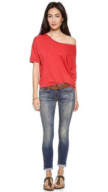 SUNDRY Slubbed Short Sleeve Pullover